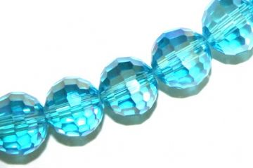 100pcs x 6mm Aqua blue with AB coating faceted round glass beads -- S.J -- 3005750